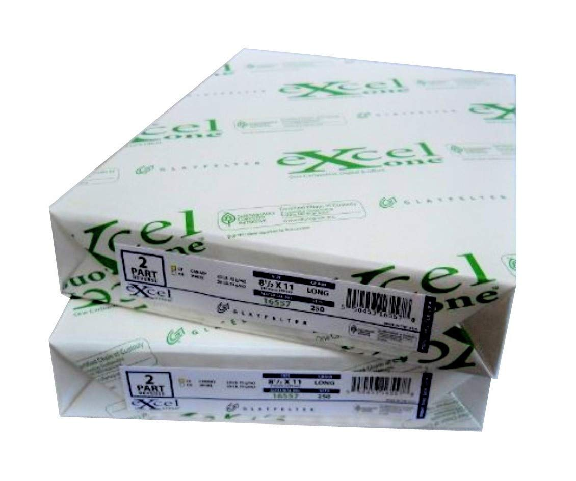 Excel Carbonless 2-Part Paper (Bright White/Canary Yellow), 8-1/2'' x 11'', 250 Sets (500 Sheets) Per Ream (16557) - Two (2) Reams (500 Sets)