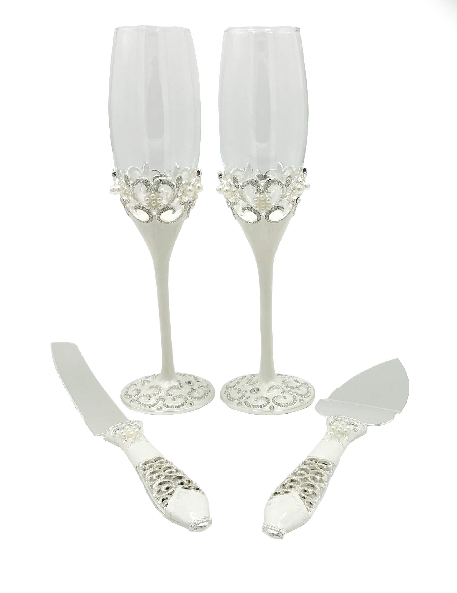 GOLD CREATIVE WEDDING CHAMPAGE TOASTING FLUTES WITH MATCHING CAKE KNIFE AND SERVER SET (Silver)