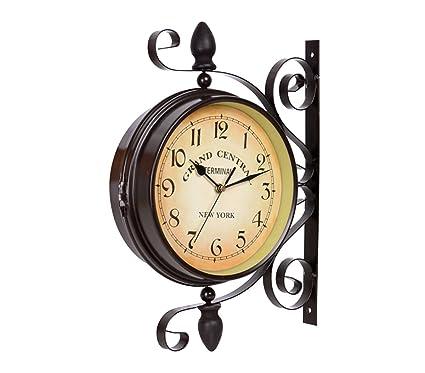 Vintage pared doble parte horloge- de techo de estación de tren de reloj hierro forjado