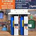 "2-Stage Big Blue 20"" Whole House+Bracket+ Pleated Sediment+Carbon Block Filters"