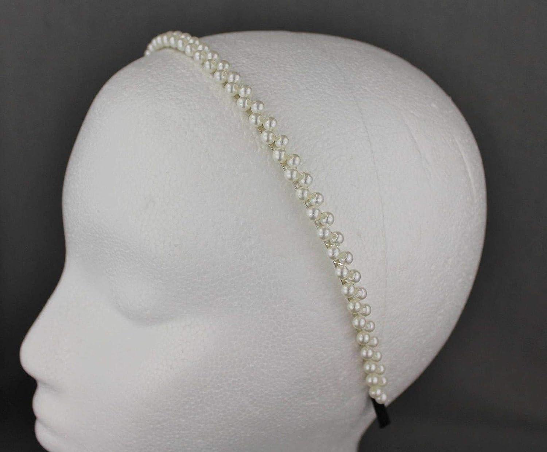 Shinny Women Raw Beaded Plaid Girls Peal Hairbands Hair Accessories Headbands
