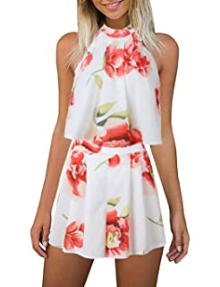 5c2af917a3f LitBud Women s Floral Printed Summer Dress Romper Jumpsuits Playsuit Set  Boho Beach 2 PCS Outfits Top