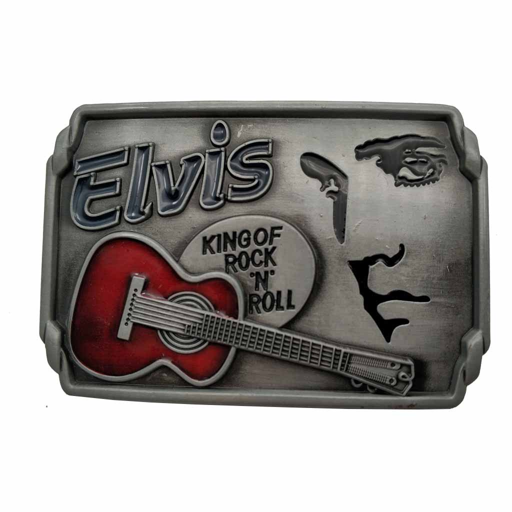 YONE Fibbia per Cinture Elvis Rock N Roll Music Belt Buckle