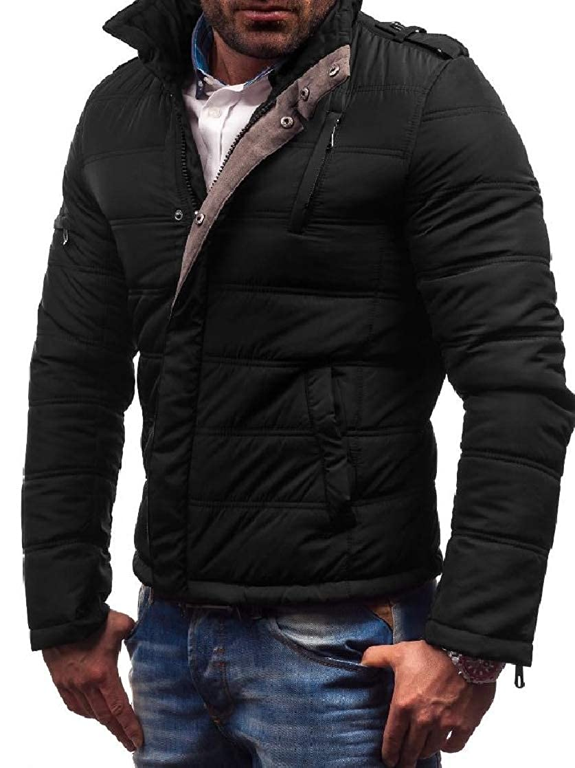 YUNY Mens Slim Fit Cotton Thickening Zipper Stand Up Collar Down Jackets Black M
