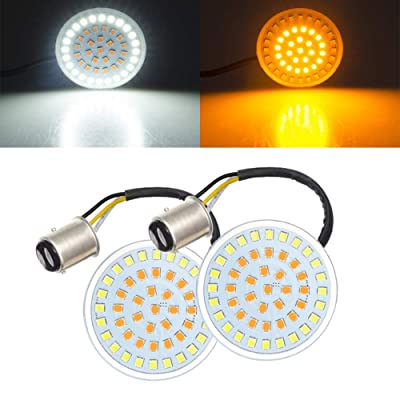 Amazicha Front 2 Inch LED Turn Signals Inserts, Bullet Style 1157 Amber Turn Signal Light White Running Light Compatible for Harley Davidson Softail Dyna Sportster Touring: Automotive
