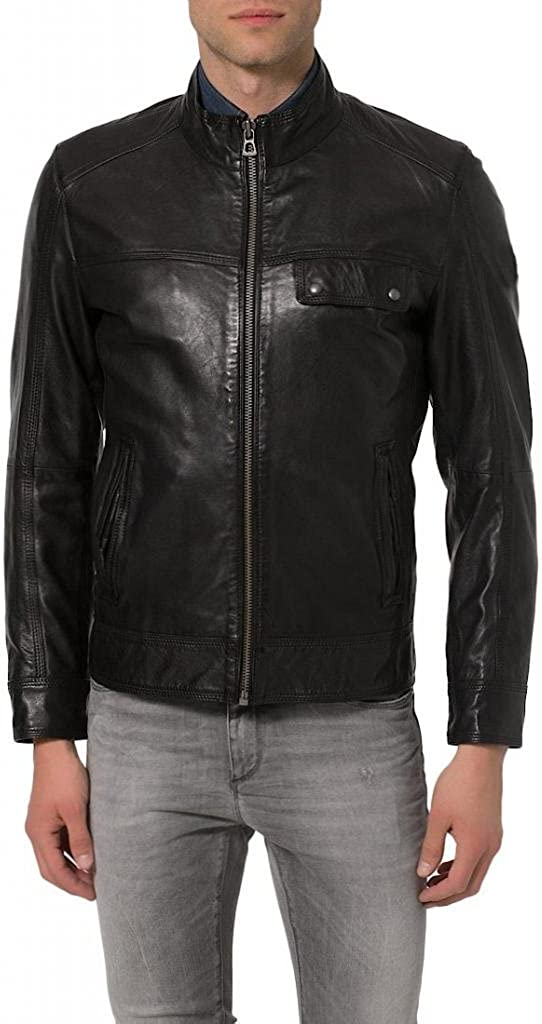 Leather Bomber Mens Motorcycle Biker Lambskin Leather Jacket Black
