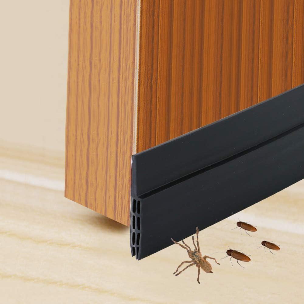 Door Bottom Seal Strip Anti-Bug in Brown Self-Adhesive Under Door Sweep Weather Stripping Anti-Noise by SunMon