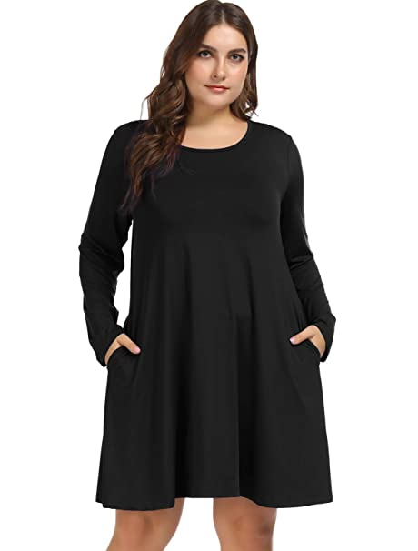 Hanna Nikole Women\'s Plus Size Long Sleeve Flare T-Shirt Dress with Pockets