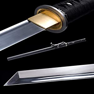 SJ SHI JIAN Black Ninjato Handmade Real Sharp Carbon Steel Japanese Samurai Ninja Sword
