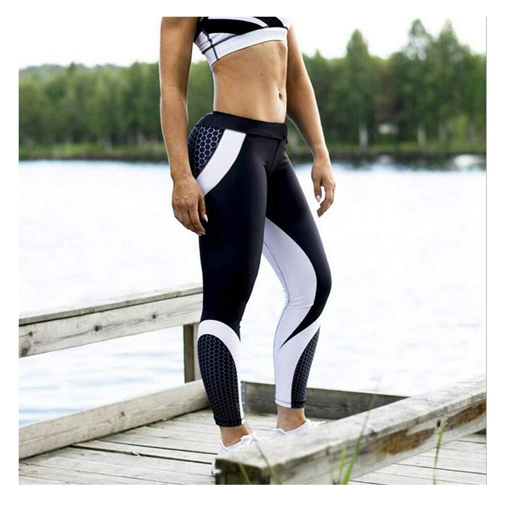 GzxtLTX Women Camouflage Yoga Running Pants Gym Workout Fitness Clothes Sport Leggings (Black-2, S)