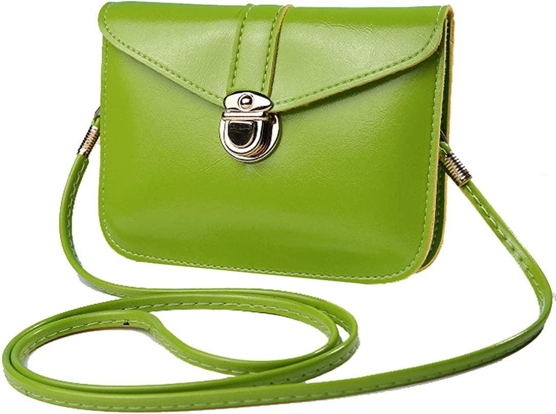 edfamily Women Leather Mini Handbags Crossbody Single Shoulder Bag Cellphone Pouch Purse(Apple Green)