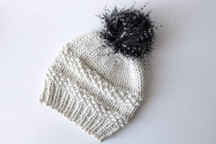 612a0019 Amazon.com: Knit Beanie Hat with Faux Fur/Feather Pom Pom (Adult). Handmade  in Chunky, Wool Yarn: Handmade
