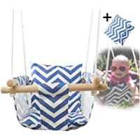 Feileng Secure Canvas Swing Chair Hanging Wood Indoor Outdoor Hammock Seat for Baby Toddler (Blue/White)