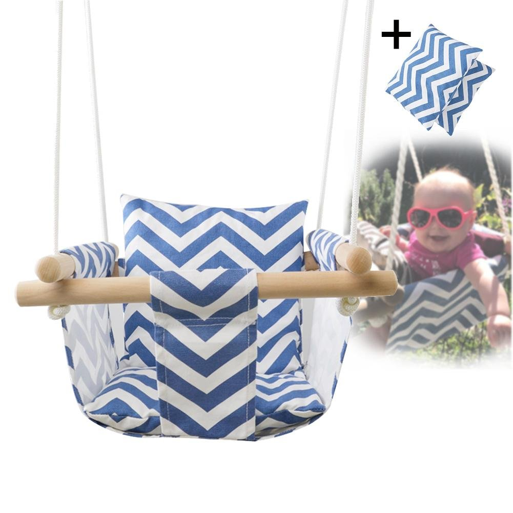 Feileng Secure Canvas Swing Chair Hanging Wood Indoor Outdoor Hammock Seat for Baby Toddler (Blue/White) Feileng|wesdfd