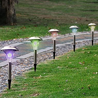 SolarEK Solar LED Garden Path Stake Lights, Color Changing, Landscape Outdoor Patio Lights, Stainless Steel (Set of 24)