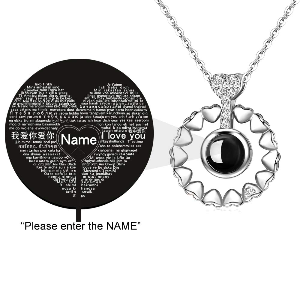 DOUYIN Necklace Lovefir Projective Necklace 100 Different Languages for I Love U The Memory of Love Nanotechnology Necklace