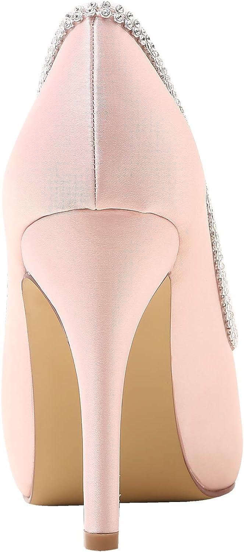 Elegantpark EP11083-IP Escarpins Femme Satin Bout Ouvert Aiguille Plateforme Diamant Chaine Chaussures de Mariee Bal