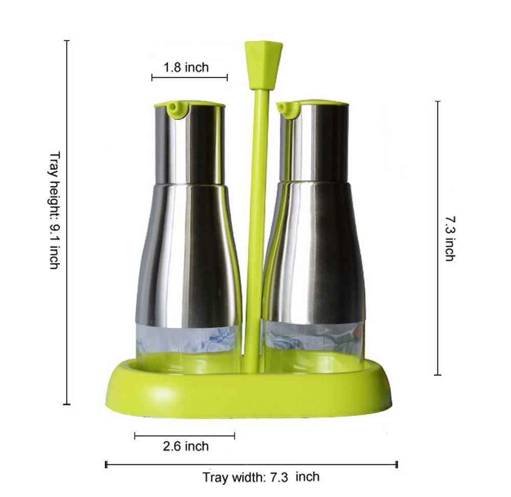 yohom 11 oz de acero inoxidable y cristal Oliver depósito Aceite Botella de Vinagre y salsa de soja dispensador