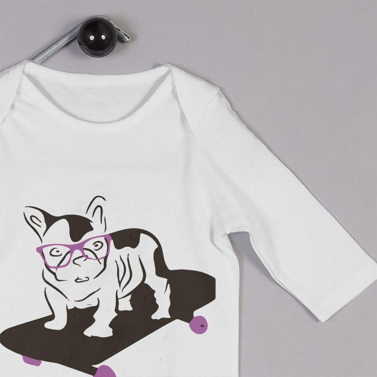 Baby Boy Girl Long Sleeved Coveralls Animal French Bulldog Skateboard Baby Rompers