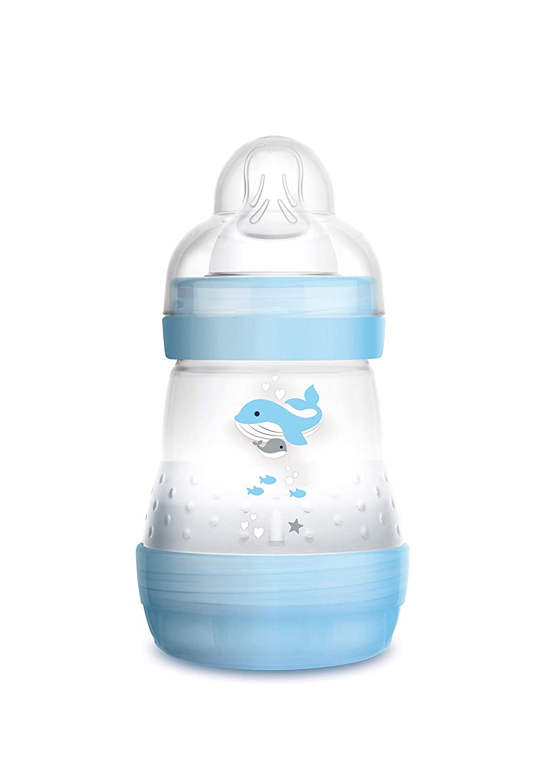 Wal blau 160 ml Babyflasche mit Bodenventil gegen Koliken Baby Trinkflasche mit Sauger Gr/ö/ße 1 ab der Geburt MAM Easy Start Anti-Colic Babyflasche