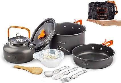 Portable Outdoor Camping Cookware Cooking Picnic Bowl Spoon Stove Pot Pan Sets