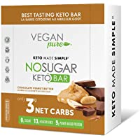 New! Vegan Pure No Sugar Keto Bars – Nutritional Keto Food Bars, Low Carb/Low Glycemic, 0 grams of Sugar, Keto Friendly Foods, All Natural, 9g of Plant Based Protein, Vegan, 13g of Good Fats per Bar, Only 3g Net Carbs, #LCHF - Chocolate Peanut Butter (12 x 40g bars per box)