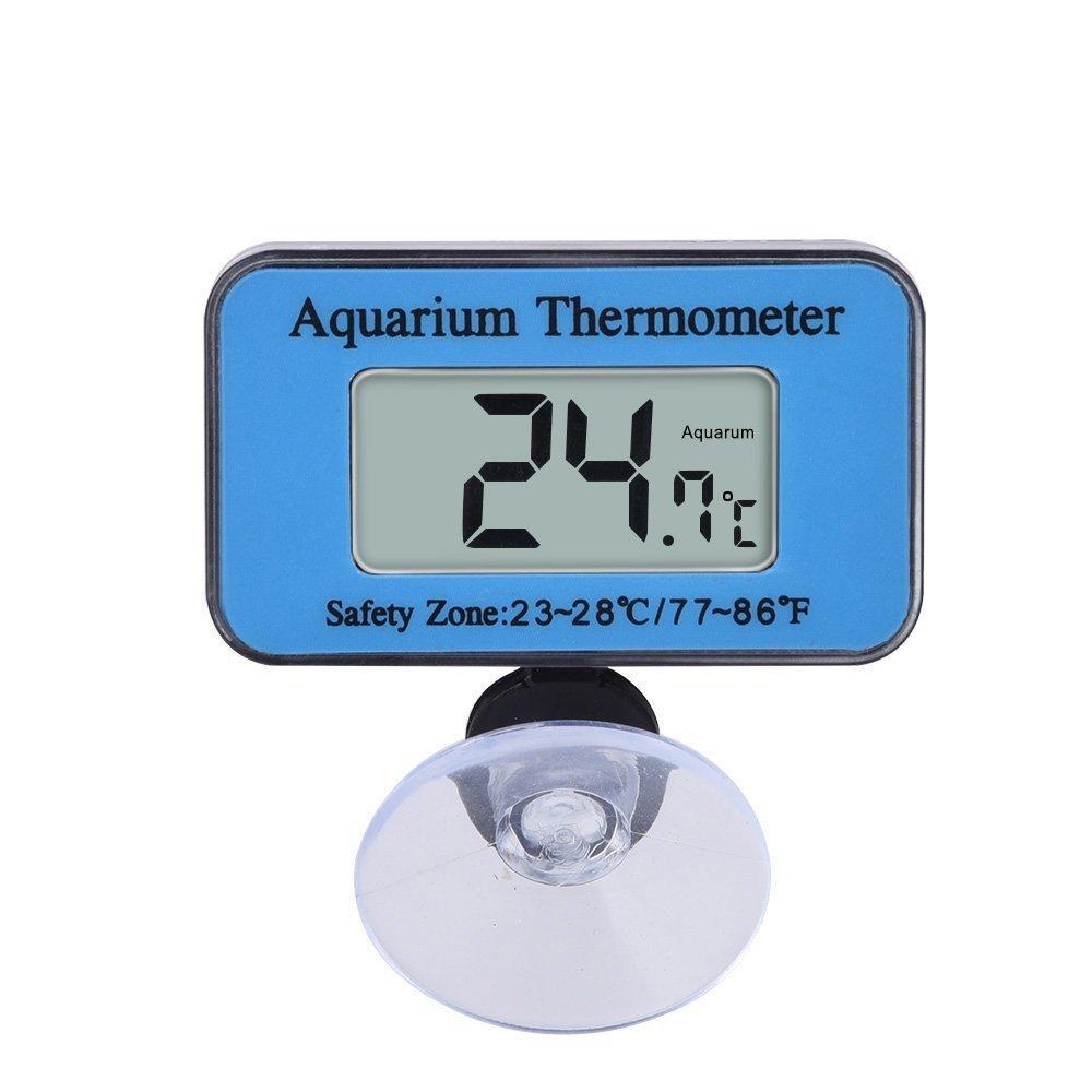 supplyeu Thermomètre Aquarium LCD numérique étanche Thermomètre pour vivarium avec la ventouse Marine Plage de température -10°C à 50°C Idéal pour aquarium (Bleu) AEQW-WER-AW143830