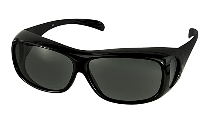 eb72187fe7dfe LensCovers Wear Over Sunglasses for Men and Women. Size Large Slim Black  Polarized!