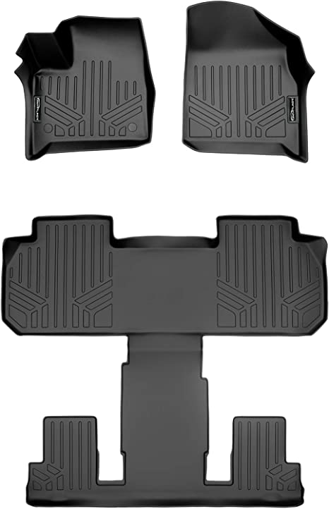 SMARTLINER Floor Mats 3rd Row Liner Black for 2018-2019 Chevrolet Traverse//Buick Enclave with 2nd Row Bench Seat