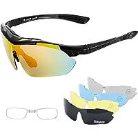 IPSXP Fietsbril, gepolariseerde sportzonnebril, fietsbril voor mannen en vrouwen, met 5 verwisselbare lenzen, nachtbril…