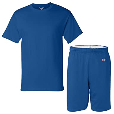 Champion Men S Cotton Athletic Gym T Shirt And Short Set Medium