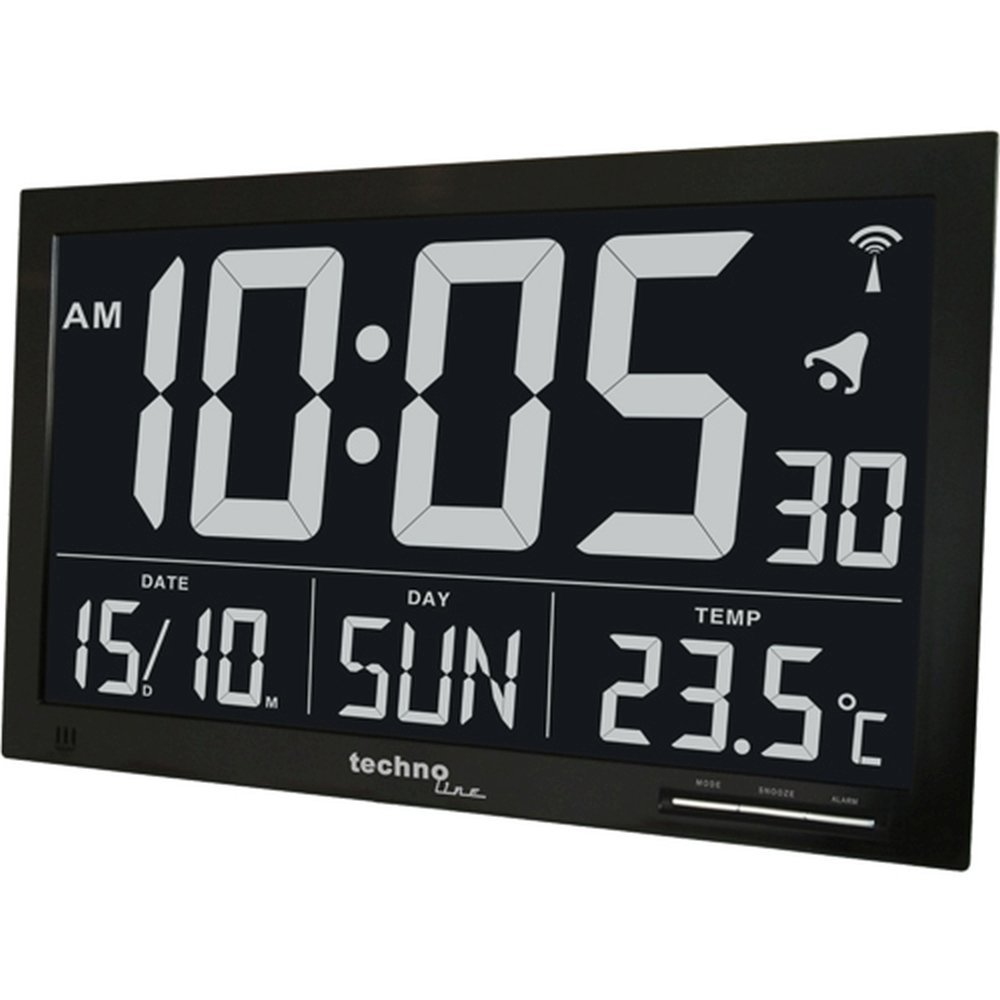 Technoline WS8007 Extra Large Black Digital Weather Clock Amazonco