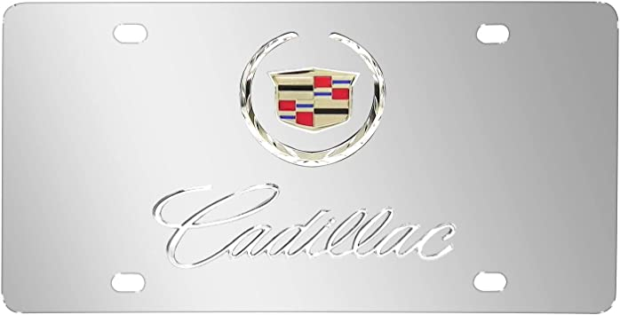 Cadillac Crest CTS 3D Dual Logo Black Stainless Steel License Plate