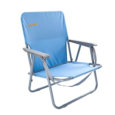 #WEJOY Low Back Outdoor Lawn Concert Beach Folding Chair with Hard Arms Shoulder Strap Pocket for Adults Camping Festival, Supports 300 lbs : Sports & Outdoors