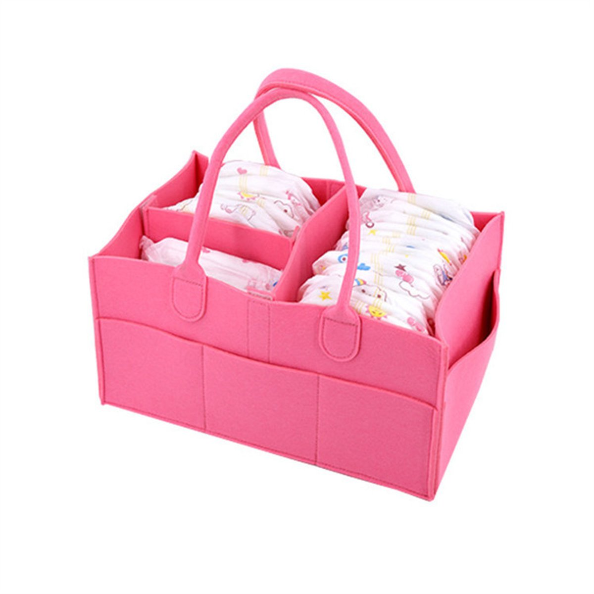 Baby Diaper Caddy Large Portable Organizer for Diapers Toys and Wipes Newborn Registry Must Haves - 13 x 9 x 7 inches by BB Hapeayou (Pink Felt)
