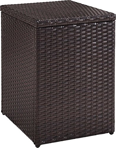 Crosley Furniture CO7216-BR Palm Harbor Outdoor Wicker Side Table, Brown - Stylish and Functional, this side table is perfect for perching cocktails or snacks UV and fade resistant outdoor wicker Durable Steel frame designed to last - patio-tables, patio-furniture, patio - 61gA8lh1PQL -