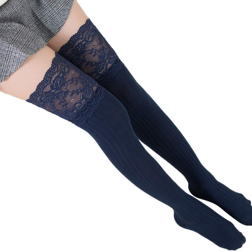 cb4e444cc6c Pausseo Women Lace Trim Thigh High Over The Knee Socks Long Vertical High  Tube Bottoming Girls Leg Stockings Soft Comfortable ...