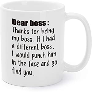 Mugaholics New Year Gift Mugs Thanks For Being My Boss Gag Xmas/Holiday/White Elephant/Birthday/Office Presents Funny Coffee/Tea Cups for Employer 11 Oz - BS-4