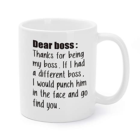 Thanks For Being My Boss Coffee Mugs Christmasbirthdaywhite Elephantoffice Holiday Party Presentsgag Gifts Tea Cups11 Oz