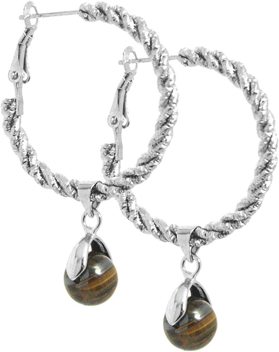 2LIVEfor - Pendientes de aro con perlas, color marrón y dorado