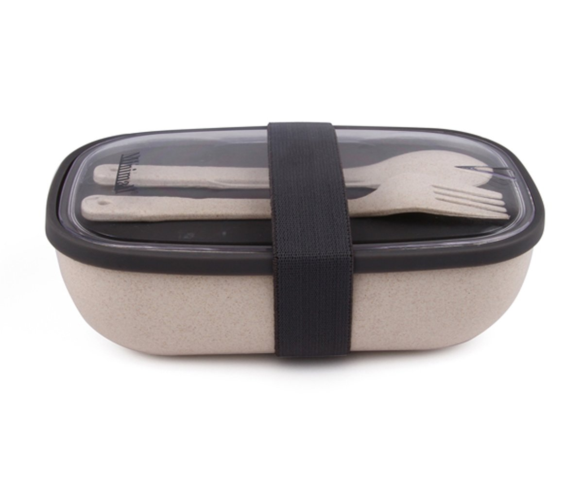 Minimal All-in-One Natural Fiber Salad Box, 18 oz, Neutral Color