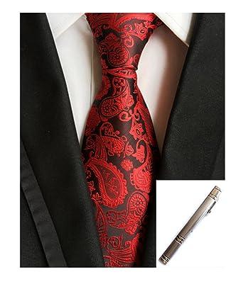 Amazon.com: mohslee hombre, color rojo Paisley corbata de ...