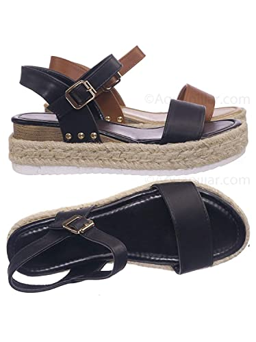1663bcdeb2e Amazon.com  Vintage Espadrille Jute Wrap Flatform Flat Sandal Shark Tooth  Eva Outsole  Shoes
