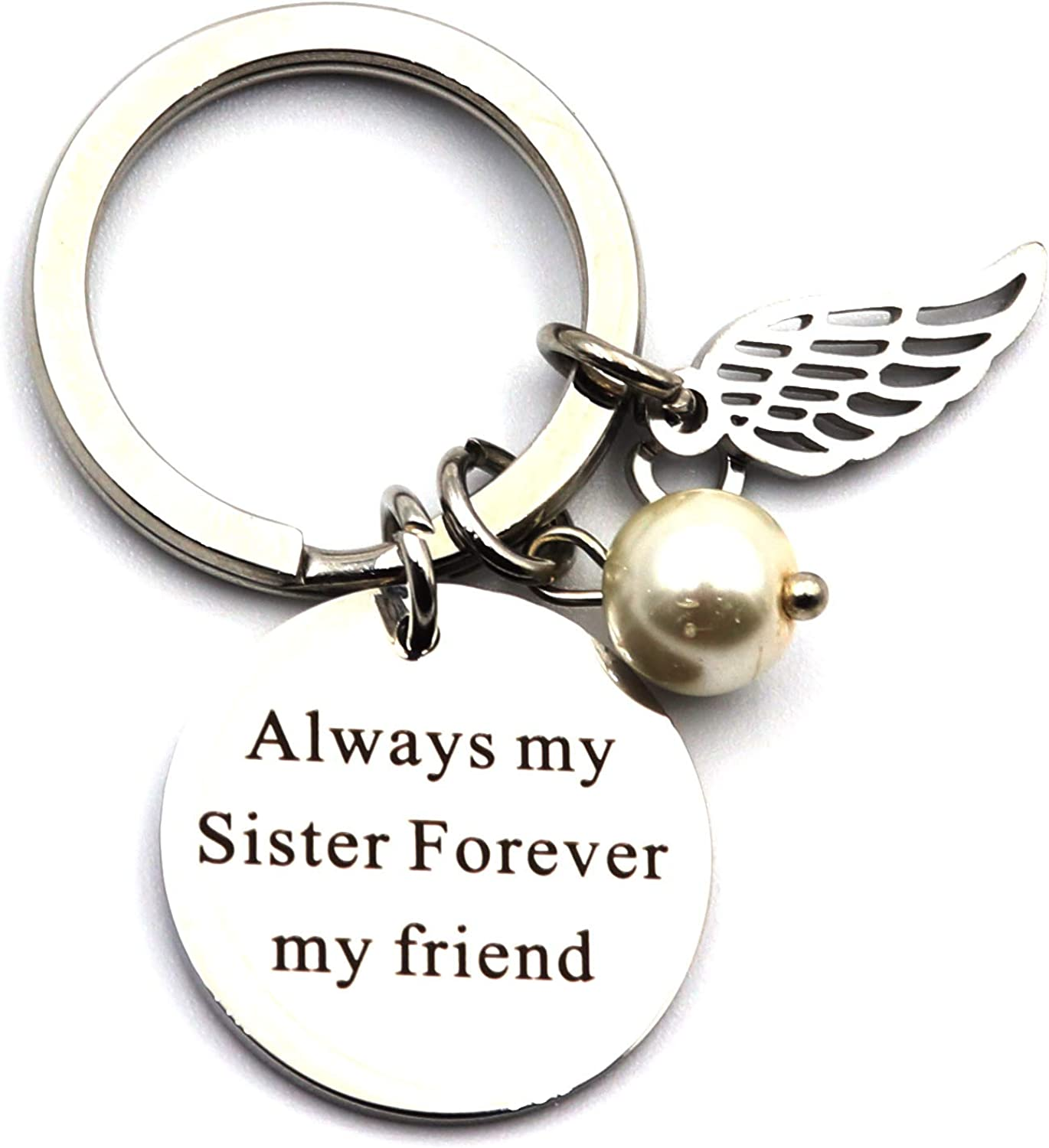 DETUCK(TM) Keychain To Sister Stainless Steel Key Chain Keyring Gift To Best Friends | Always My Sister Forever My Friend