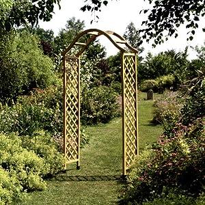 Amazing Gardman 07713 Elegance Wooden Garden Arch Pergola Tan Finish Plant Support