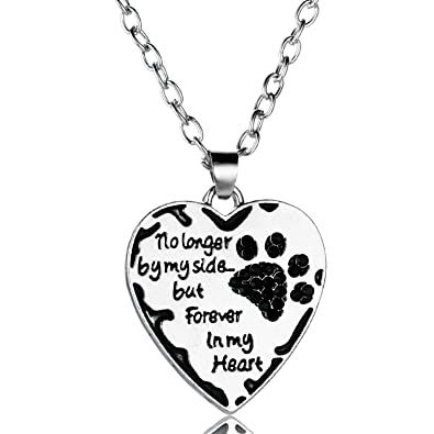 1a78605f5 YeeQin No Longer by My Side but Forever in My Heart Crystal Paw Prints  Necklace (