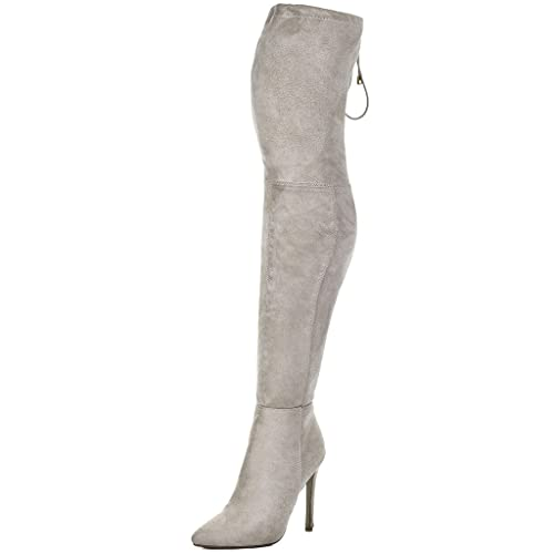 ee565303ec777 Lace Up High Heel Stiletto Over Knee Tall Boots Beige Suede Style Sz ...