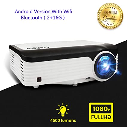 YTBLF Proyector Android 1920 * 1080P con Android 7.1 OS WiFi ...