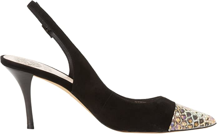 Womens Shoes Vince Camuto STANTONE Slingback Pumps Heels Black Leather Suede