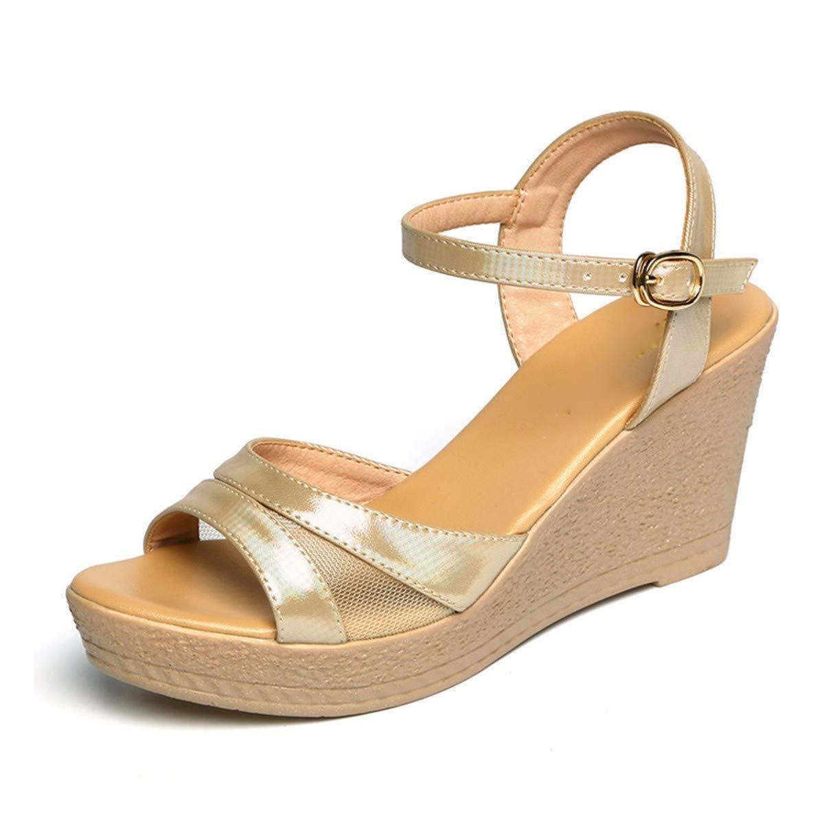 GTVERNH Chaussures Femme Mode Mesdames Les Sandales à Talons Bas 8Cm épais Et des Sandales Summer Muffin Chaussures. oren Thirty-seven